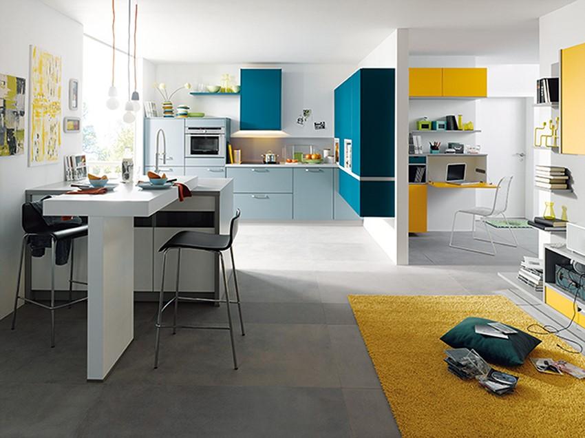 Yellow and blue two tone kitchen KDCUK