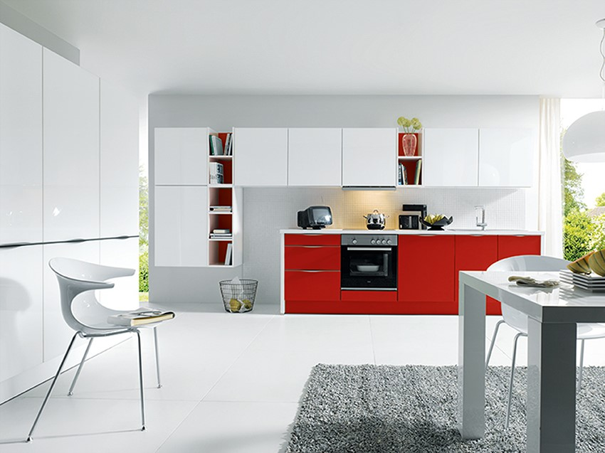 Red and grey two tone kitchen KDCUK